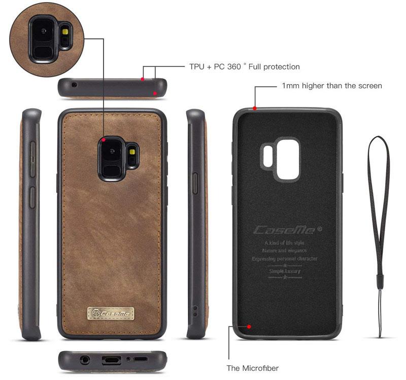 CaseMe Samsung Galaxy S9 Detachable Magnetic Retro Leather Wallet Case
