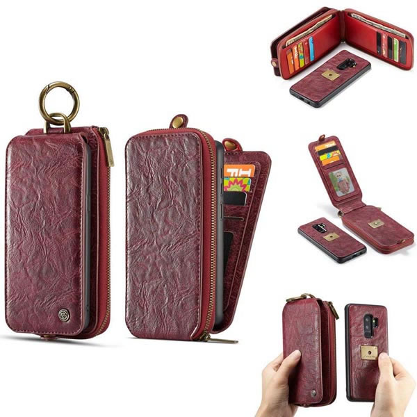 sale retailer e71aa 90489 CaseMe Samsung Galaxy S9 Plus Detachable Retro Leather Wallet Case Red