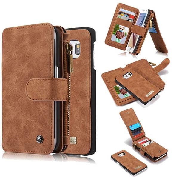 huge discount 19aec 4e323 CaseMe Samsung Galaxy S6 Edge Detachable Folio Flip Leather Wallet Case  Brown