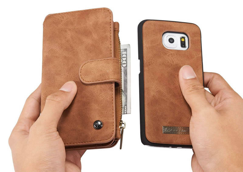 CaseMe Samsung Galaxy S6 Edge Detachable Folio Flip Leather Wallet Case