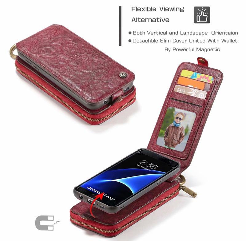 CaseMe Samsung Galaxy S7 Edge Detachable Retro Leather Wallet Case