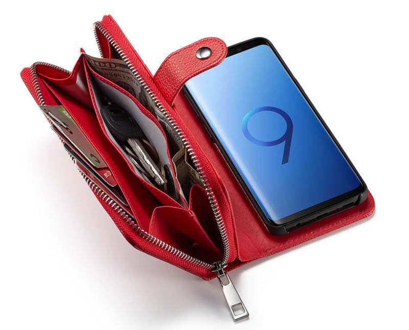 BRG Samsung Galaxy S9 Detachable Litchi Texture Leather Zipper Wallet Case
