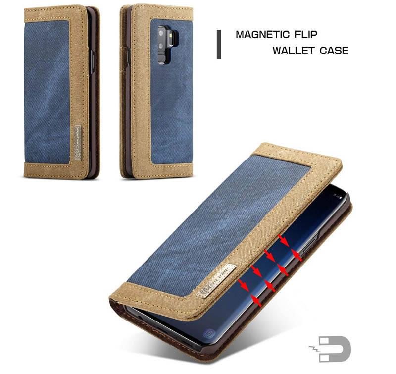 CaseMe Samsung Galaxy S9 Plus Canvas Magnetic Flip Wallet Case