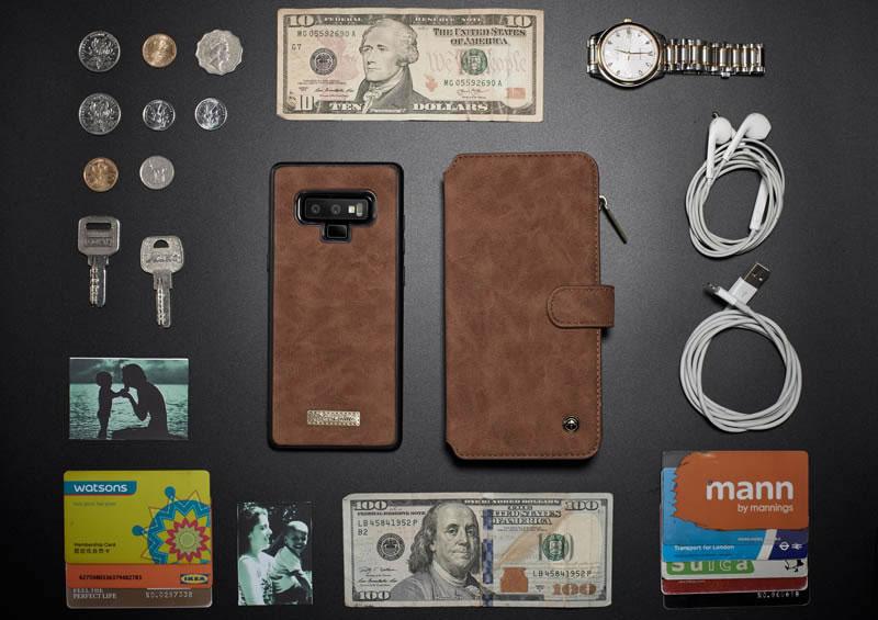 CaseMe Samsung Galaxy Note 9 Magnetic 2 in 1 Folio Flip Leather Wallet Case