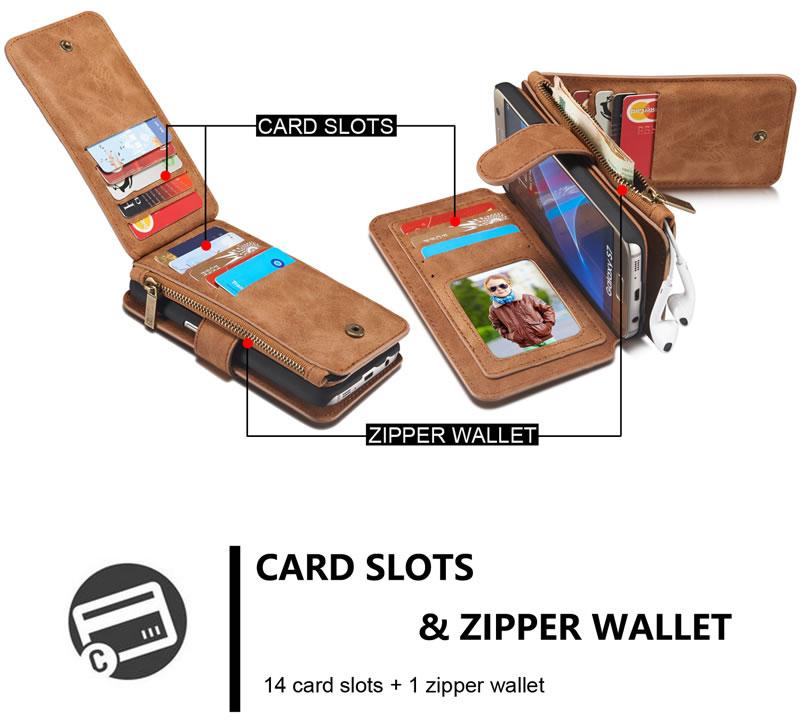 CaseMe Samsung Galaxy S7 Detachable Flip Folio Leather Wallet Case