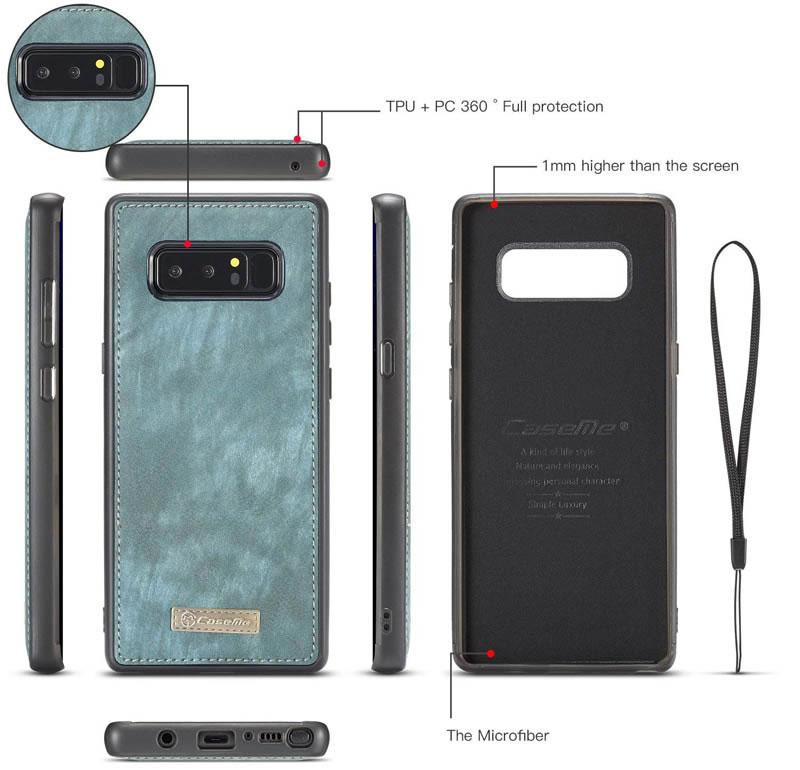 CaseMe Samsung Galaxy Note 8 Detachable Zipper Leather Wallet Case