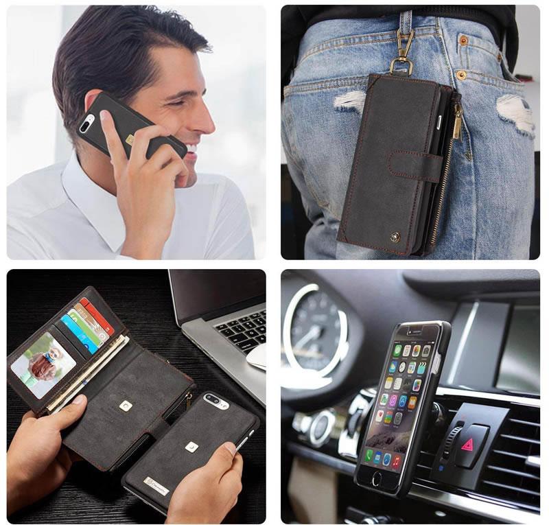 CaseMe iPhone 7 Plus Detachable Zipper Wallet Case With Climbing Hook