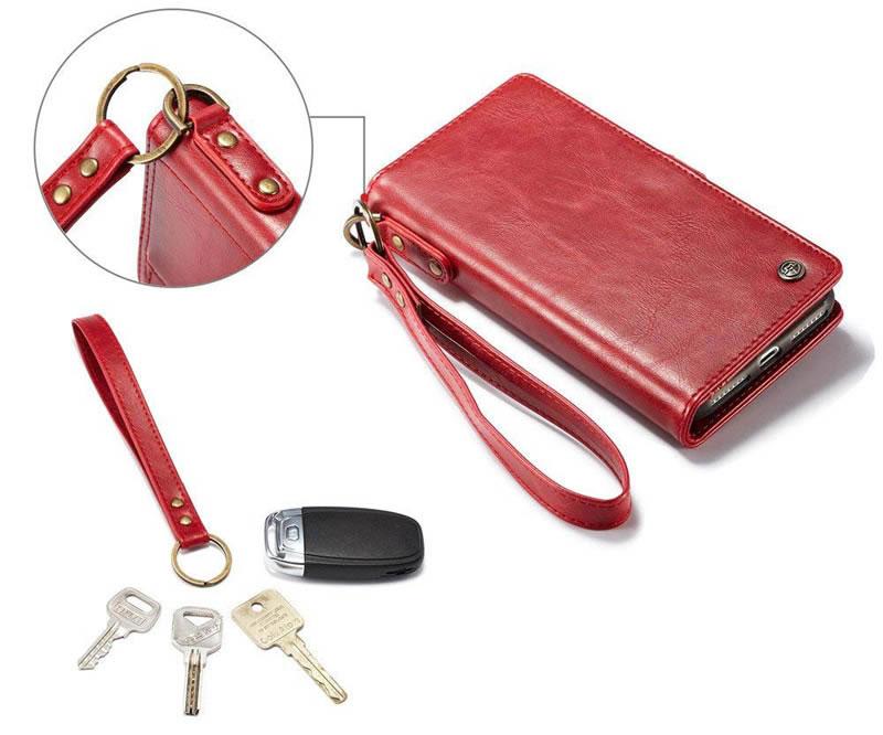 CaseMe iPhone 8 Plus Detachable Leather Wallet Case With Wrist Strap