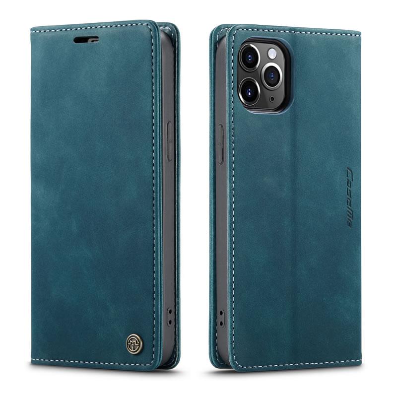 CaseMe iPhone 12 Pro Wallet Leather Magnetic Flip Case Blue